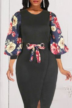 Black Vintage Print Split Joint O Neck Printed Dress Dresses Belted Dress, Dress Skirt, Wine Red Dress, Short African Dresses, Collared Shirt Dress, Wholesale Clothing, Shoes Wholesale, Jumpsuit With Sleeves, Tie Dye Dress