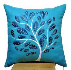 Blue Peacock Pillow Cover, Decorative Throw Pillow Cover, Deep Blue Peacock on Teal Linen Pillow, Pillow Accent Teal, Pillow Case 18 x Toss Pillows, Linen Pillows, Custom Pillows, Accent Pillows, Teal Pillow Cases, Pillow Covers, Peacock Pillow, King Size Pillows, Applique Tutorial