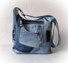 Upcycled denim crossbody bag, jean light blue sling bag, jean messenger bag, denim purse, shoulder bag, recycled clothing, vegan denim purse
