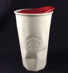 Starbucks-2013-White-Faceted-Ceramic-Insulated-Travel-Mug-Red-10-Ounce-Mermaid