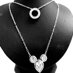 Elegant Dress Lovely Mouse Pendants Crystal Silver Necklace N1204A