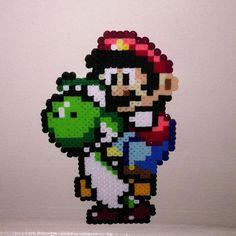 Mario  Yoshi perler beads by Tiff Time