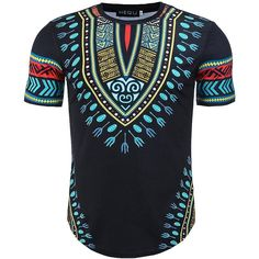 Cheap African Dashiki Print Pullover Shirt Men Fashion Cool Scoop Neck T-Shirt Short Sleeves Round Collar Top Tee For Men African Attire For Men, African Men Fashion, African Dresses For Women, African Dashiki Dress, Mode Cool, African Shirts, Plus Size Men, Traditional Outfits, T Shirt