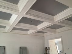 Matching gray coffered ceilings in the music room and library will have oversized antique streetlight globes in the centers.  See the next pin for examples of the streetlight globes...