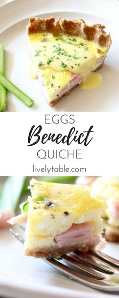 A delicious eggs benedict quiche with easy blender hollandaise sauce is a great way to prepare an eggs benedict brunch for a crowd without all the work of poaching eggs! It's perfect for a holiday breakfast or brunch. Breakfast Desayunos, Breakfast Dishes, Breakfast Casserole, Breakfast Recipes, Breakfast Ideas With Eggs, Breakfast For A Crowd, Mexican Breakfast, Breakfast Sandwiches, Quiche Recipes