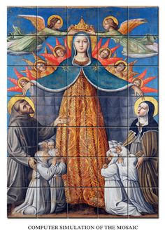 New tile mural / mosaic available in the Store. Our Lady of Mercy with St Francis and St Clare of Assisi. The image was inspired by a processional banner painted during XV century by the italian painter Niccolò Alunno. Big size. Suitable indoor or outdoor. Composed by 35 ceramic tiles. https://www.etsy.com/listing/507365589