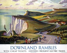 Downland Rambles, Beachy Head, Eastbourne, Sussex. BR Vintage Travel Poster by…