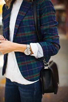 All the rage this fall: Plaid! Try this classic print in a structured style layered over a cozy fall sweater.