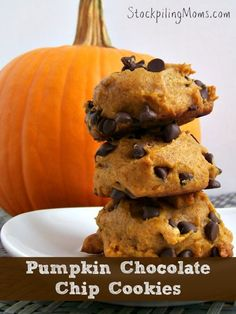Pumpkin Chocolate Chip Cookies recipe that is made from scratch and tastes delicious!  Perfect for fall or anytime!