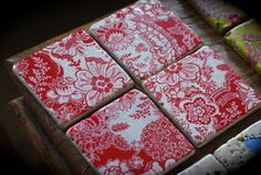 """Set of 4 pretty floral decorative """"RED & WHITE"""" Natural Stone coasters"""