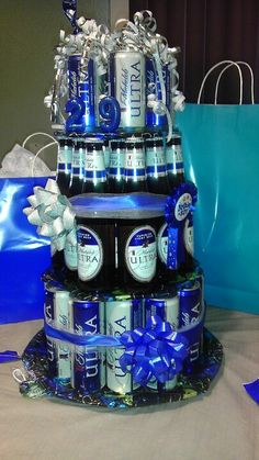 Michelob Beer Cake - made this 3 layer beer cake that included 29 beers. 3 different size of beers for each layer. HE LOVED IT!