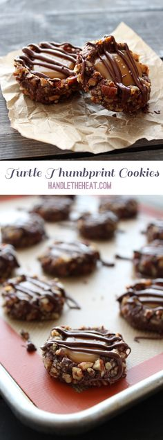 Turtle Thumbprint Cookies with chocolate, pecans, and caramel!