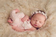 NEWBORN ROMPER Romper Set Newborn Pants Bow Headband by CoraBloom