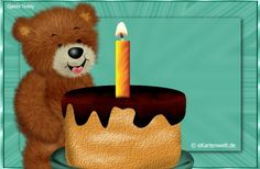 Ich bedanke mich ganz herzlich für die lieben Glückwünsche. Animierte Djabbi Teddy Grußkarte mit Kuchen