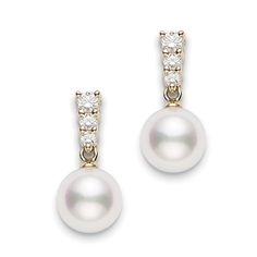 MIKIMOTO Akoya cultured pearl earrings with diamonds, .29 carat total weight, in 18K yellow gold. Pearls are 8mm A+ quality. Part of the Morning Dew collection. $2250