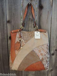 Fossil Lyla Leather Patchwork Tote Hobo Purse Diese und weitere Taschen auf www.designertaschen-shops.de entdecken