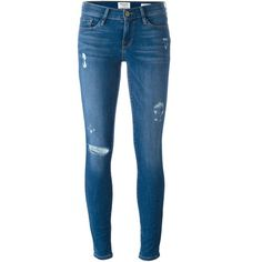 Frame Denim Distressed Skinny Jeans ($239) ❤ liked on Polyvore featuring jeans, pants, bottoms, calças, blue, skinny fit jeans, denim skinny jeans, destroyed skinny jeans, distressed jeans and blue jeans