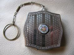 Antique Art Deco Silver T Blue S Guilloche Pink Floral Finger RingDance Compact