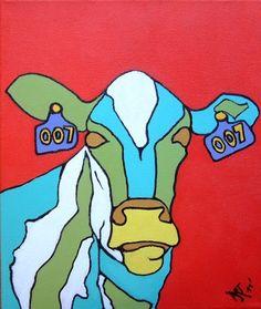 Pop-Art 'Cow James' acryl op canvas (linnen) 25/25cm Meer originele schilderijen op www.art-4-u.eu