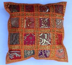 indian Handmade Patchwork cotton Cushion Cover Home Decor Pillow Cases KH099 #Handmade #Ethnic