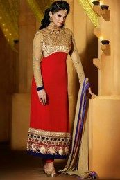 Buy Jenifer Winget Red And Cream Georgette Churidar Suit,Suit Shop Very Low Cost - Indian Designer Sarees, Indian Sarees Online, Indian Designer Outfits, Indian Dresses, Indian Outfits, Wedding Salwar Kameez, Salwar Kameez Online Shopping, Churidar Suits, Anarkali Suits