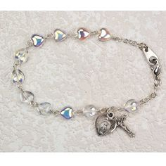 """Amazon.com: Great for First Communion, 6.5"""" Rosary Girls Bracelet, Silver Tone & Heart Shaped Crystal Beads, Dangle Crucifix and Heart Shape..."""
