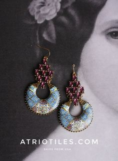 Portugal  Antique Azulejo Mosaic Tile Chandelier Earrings ,  Murtosa Purple and Porto Blue Gift Box Included