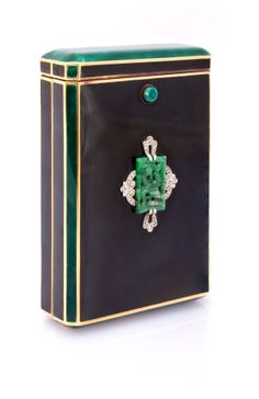 Art Deco Enamel, Jade, Diamond and Gold Cigarette Box. Represented by Kazanjian & Fogarty