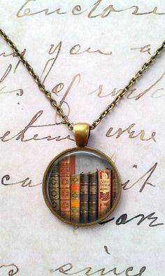 Library Book Necklace Librarian Pendant by teaANDtentacles on Etsy