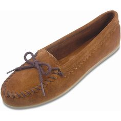Minnetonka Women's Suede Skimmer Moc Style #: 342  Brown Rubber Sole Moccasin Slipper | #TheShoeMart #CozyToes
