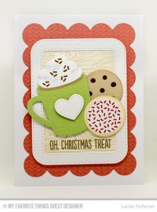 Handmade card from Larisa Hohman featuring Gift Tag Greetings stamp set, Laina Lamb Design Cookie Crumbs and Hug in a Mug stamp sets, and Blueprints 1, Stitched Rounded Rectangle Frames, and Laina Lamb Design Hot Cocoa Cups and You're the Milk to My Cookie Die-namics #mftstamps