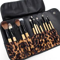 SUNDREAM® La madera 12Pcs Brochas Kit cosmético profesional de Maquillaje Set +el bolsa de estampado de leopardo SUNDREAM® http://amzn.to/1ypImd8 #maquillaje #estetica #makeup