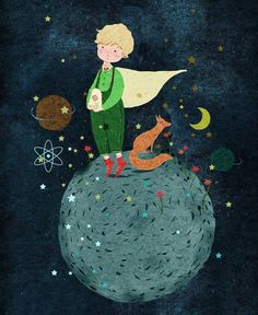 """Little prince"" Illustration by Quotes Little Prince, Little Prince Fox, Magazine Illustration, Illustration Art, Disney Wallpaper, Iphone Wallpaper, Wallpaper Quotes, Prince Drawing, Illustrations"