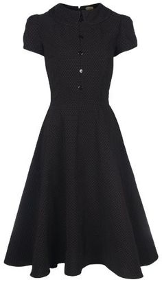 Lindy Bop 'Rhonda' Vintage Victorian Style Black Polka Dot Peter Pan Collar Tea Dress:Amazon:Clothing
