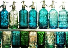 """beautiful bottles Reason enough to head south. """"Vintage soda bottles found at a Buenos Aires Flea Market; I love the effect of the light shining through the bottles' blue, green and clear glass; this Buenos Aires Blues sure made me smile! Antique Bottles, Vintage Bottles, Bottles And Jars, Glass Bottles, Perfume Bottles, Vintage Perfume, Antique Glass, Cristal Art, My Favorite Color"""