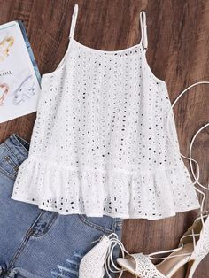 Online shopping for Ruffle Hem Eyelet Embroidered Cami Top from a great selection of women's fashion clothing & more at MakeMeChic. Cami Tops, Summer Outfits, Casual Outfits, Cute Outfits, Blouse Sexy, Short Tops, Western Outfits, Mode Style, Baby Dress