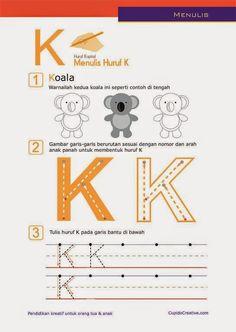 belajar paud anak TK/balita, latihan menulis huruf besar (kapital), A-Z, mewarnai koala