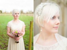 Emma and Jon get married (Oxford Town Hall wedding). Pretty hairpiece.