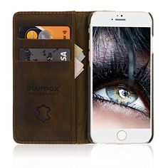 cool Blumax Genuine Leather Premium Quality iPhone 6/6s Wallet Case / Stand with 2 Credit Card Slots