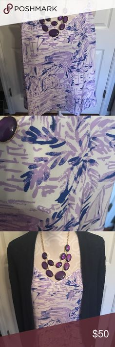 Lilly Pulitzer Silk top Gorgeous Lilly Pulitzer Silk Dusk tank in Rock the Dock Lilac Verbena.  Super cute as tank in warmer weather and also paired with cardigan or blazer for cooler weather❤️.  NWT Lilly Pulitzer Tops Tank Tops