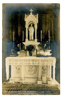 """Greenwood Lake NJ -ALTAR OF CHURCH """"OUR LADY OF THE LAKE""""-RPPC Postcard"""
