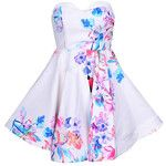Yoins Random Floral Tube Top Open Back Summer Mini Dress with Zip Back Fastening