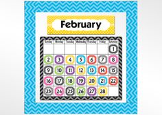 Black Chevron Calendar Chart $2.49; Chevrons and Dots Monthly Headliners $6.99; Chevron Calendar Days $2.99; Aqua Chevron Straight Border Trim $3.99  #TeacherCreatedResources #ChevronClassroom