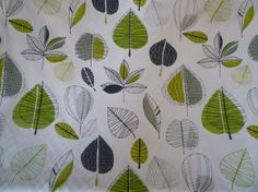 """Lime Green Grey Floral Fabric Funky UK Contemporary Modern Cotton per Metre (39"""" x 56"""")"""