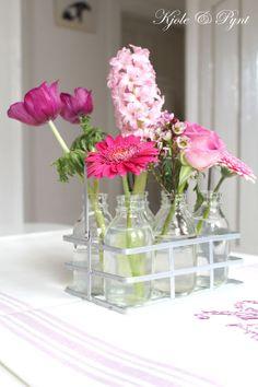 seidenfein 's Dekoblog: was pinkes in Flaschen ... some pink in bottles ...