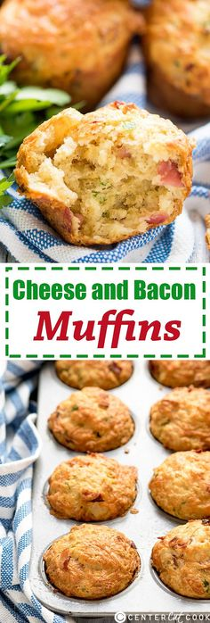 Cheese and Bacon Muffins- Light and fluffy savory muffins with cheddar and crispy bacon. Perfect for brunch, picnics and lunchboxes!