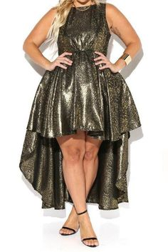 Ball Room Flare Metallic Hi-Lo Plus Size Dress