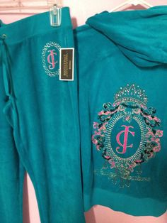 NWT 2PC Authentic Juicy Couture Turquoise Track Suit - Size Large #JuicyCouture #TracksuitsSweats