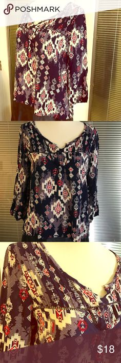 """Mossimo Aztec peasant blouse Beautiful 100% Rayon top that has high low cut. Super cute and comfortable for summer. 19"""" UA to UA 20"""" length front 27"""" back Mossimo Supply Co Tops Blouses"""