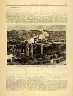 1889 Article Hydraulic Lift Locks Canal Neufosse Les Fontinettes France MAB1